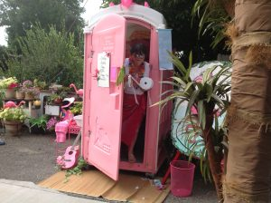 Pink Porta Potty rental