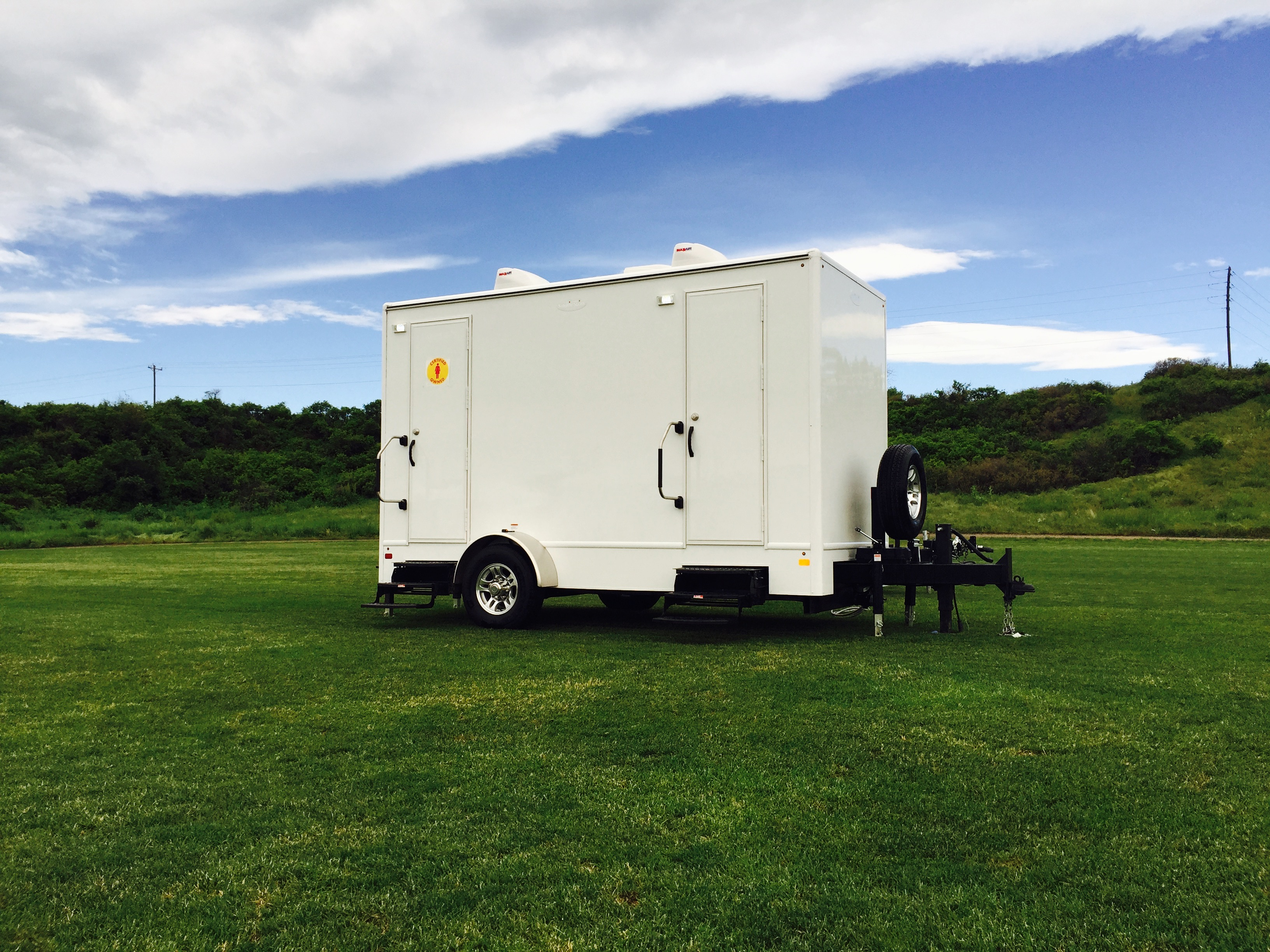 a wedding and wide trailer trailers restroom portable luxury bathroom services events exterior vip event on special rocket location
